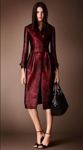 Burberry Silk-Blend Trellis Jacquard Gathered Skirt Coat