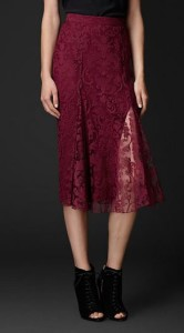 Burberry Flare-Front Embroidered Lace Skirt