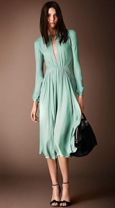Burberry Layered Silk Pleat Detail Dress