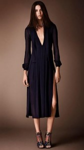 Burberry Layered Silk V-Neck Dress