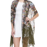 Valentino Butterfly Print & Lace Shawl